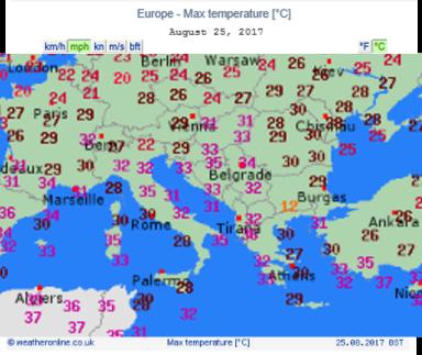 Europe Max Temperature