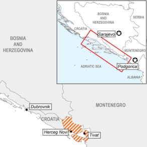 Map of fOREST fIRE IN Montenegro and Bosnia